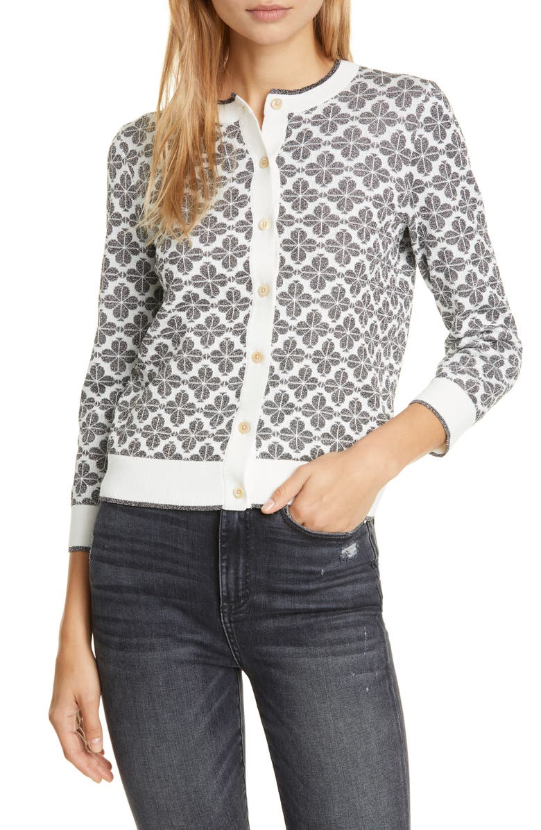 KATE SPADE NEW YORK floral spade cardigan, Main, color, BLACK