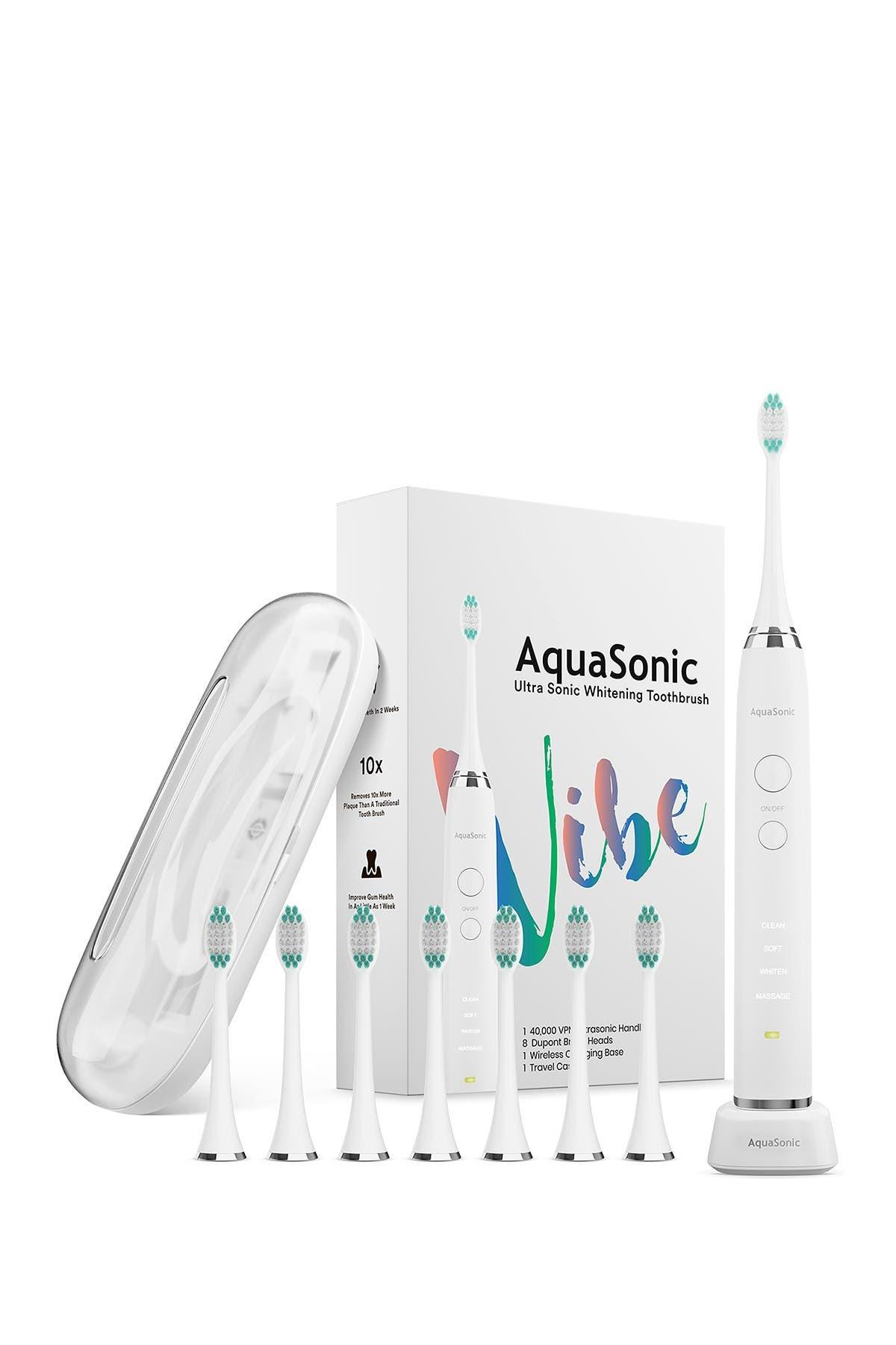 Aquasonic Vibe Series White Ultrasonic Whitening Toothbrush With 8 Dupont Brush Heads & Travel Case In Optic W In Optic White