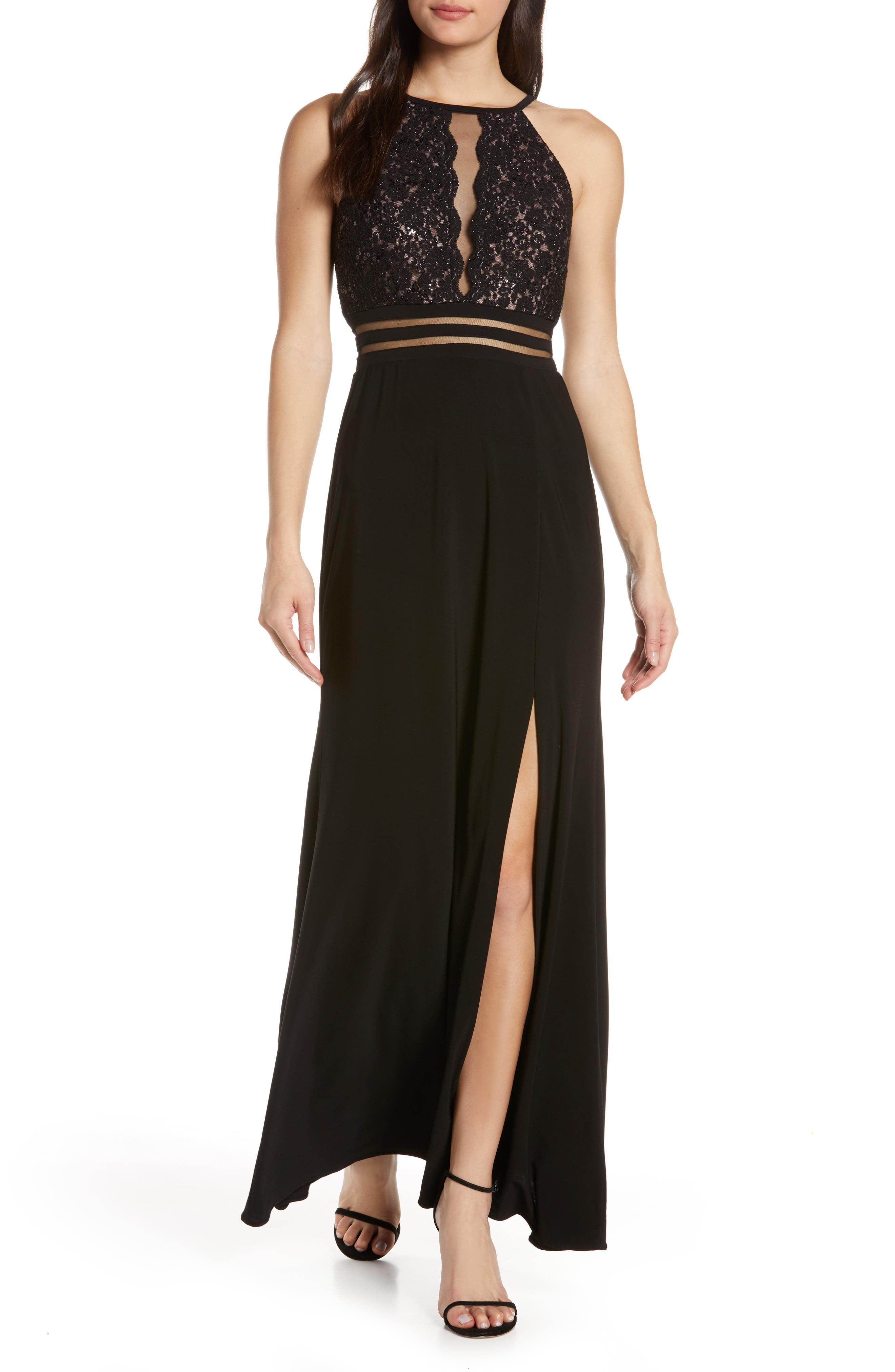 Morgan & Co. Scallop Lace Bodice Evening Dress, Black
