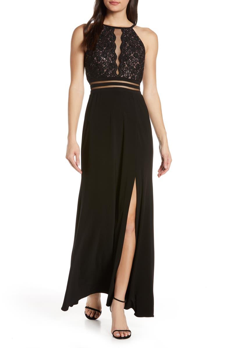 MORGAN & CO. Scallop Lace Bodice Evening Dress, Main, color, BLACK/ NUDE