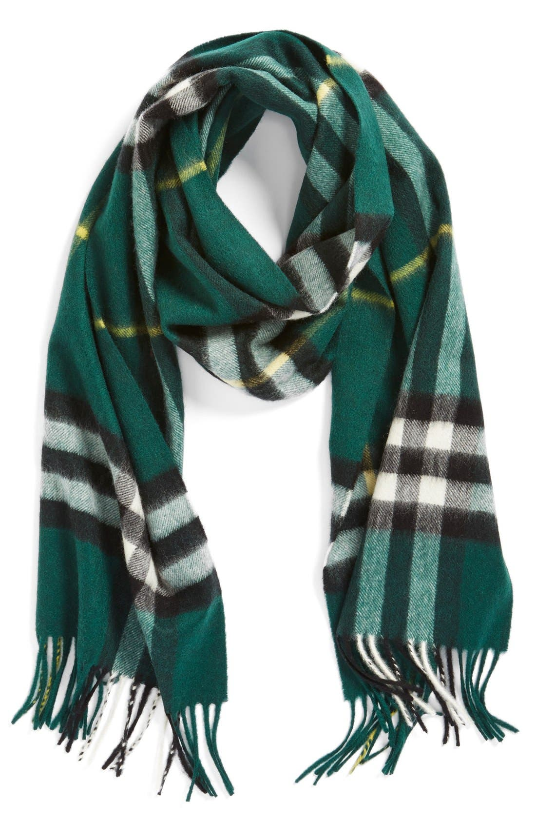 ,                             Heritage Check Cashmere Scarf,                             Main thumbnail 24, color,                             318