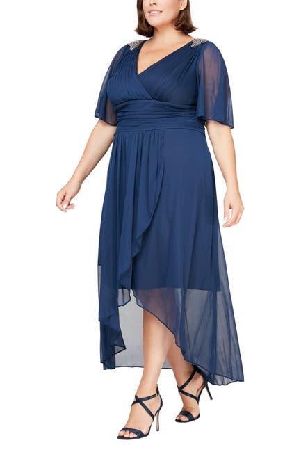 Image of SLNY Embellished Shoulder Maxi Dress
