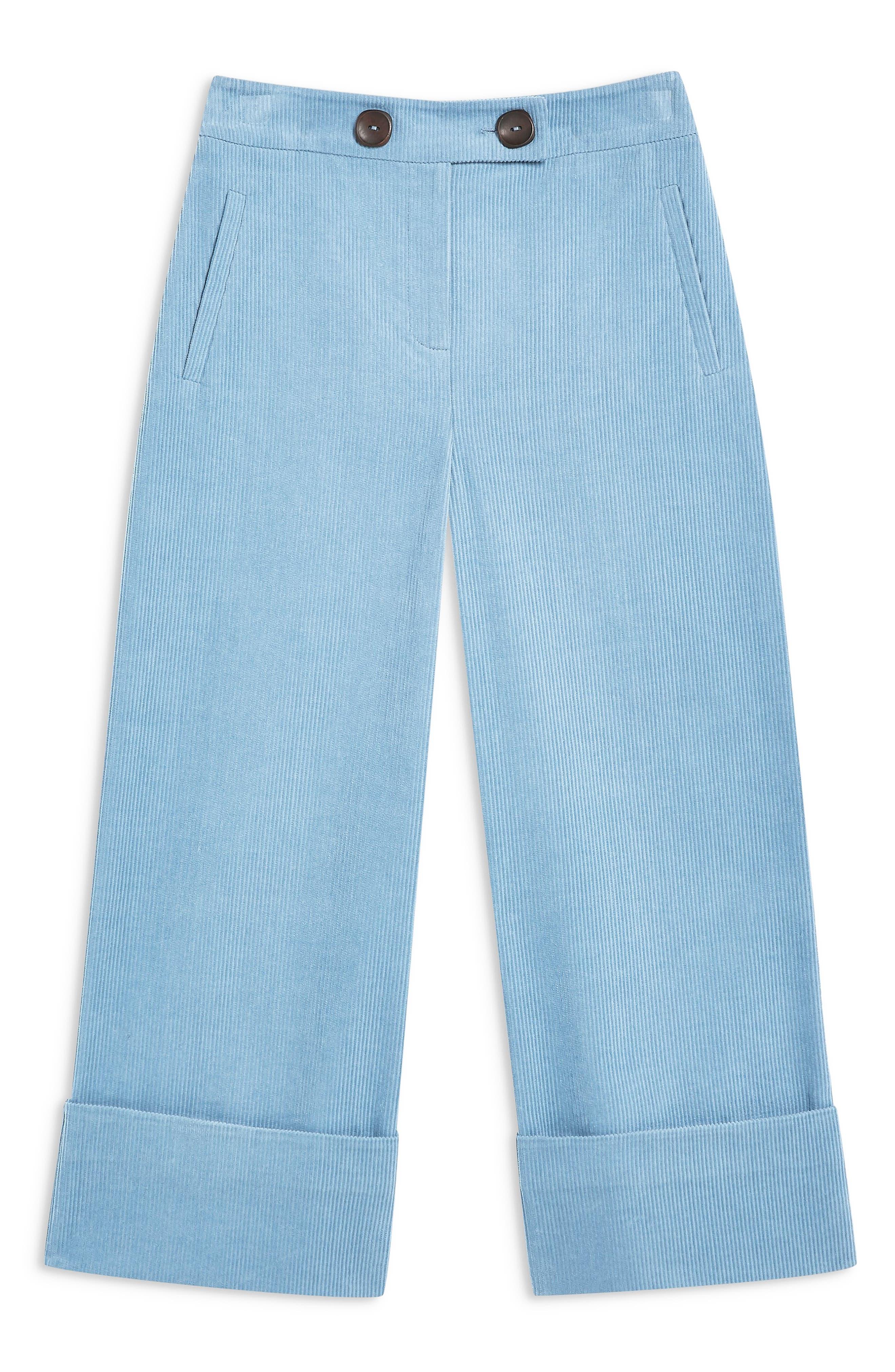 ,                             Crop Wide Leg Corduroy Trousers,                             Alternate thumbnail 5, color,                             BLUE