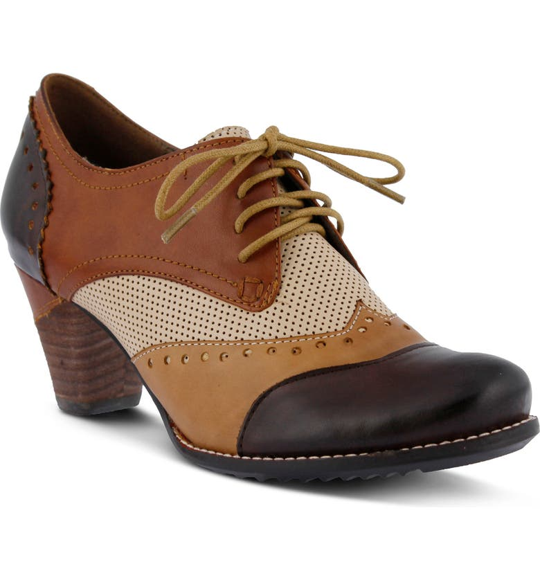 L'ARTISTE Bardot Pump, Main, color, BROWN LEATHER