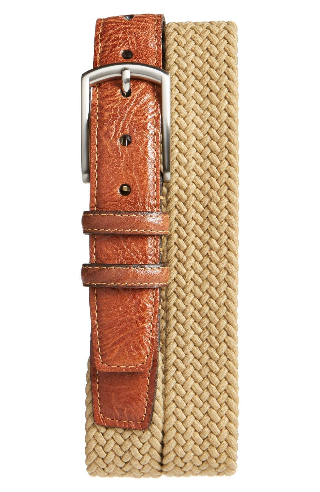 Richly grained leather tabs detail a casually handsome braided belt made in stretchy Italian cotton and secured with a brushed nickel buckle. Style Name: Torino Braided Stretch Cotton Belt. Style Number: 5109139. Available in stores.