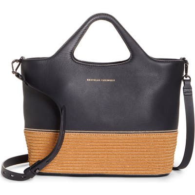 Brunello Cucinelli Raffia & Leather Top Handle Tote - Black