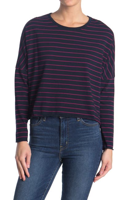 Image of FRANK & EILEEN Striped Dolman Long Seeve Crop T-Shirt