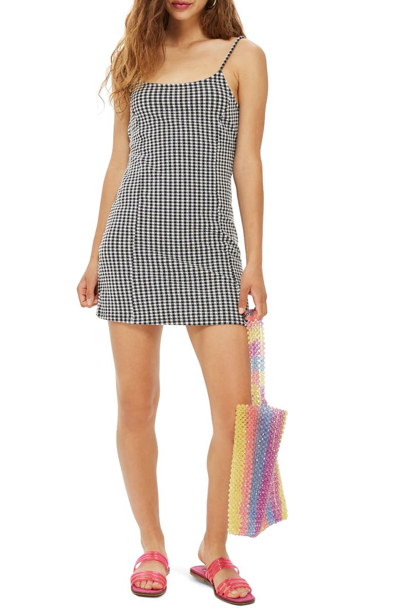 TOPSHOP Gingham Pinafore Minidress, Main, color, 001