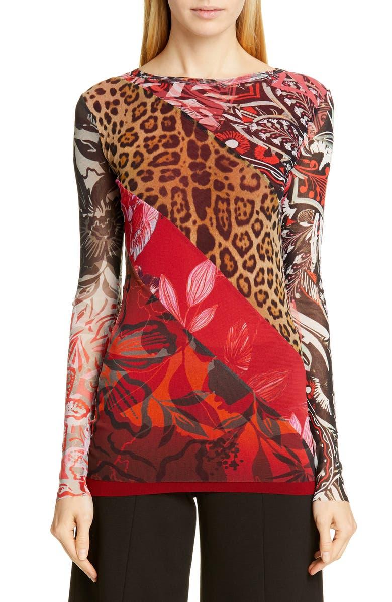FUZZI Leopard Patchwork Top, Main, color, 617