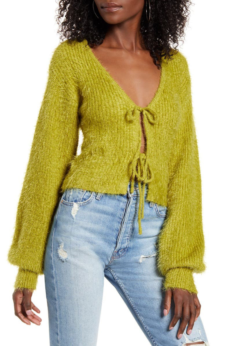 J.O.A. Front Tie Crop Cardigan, Main, color, WASABI
