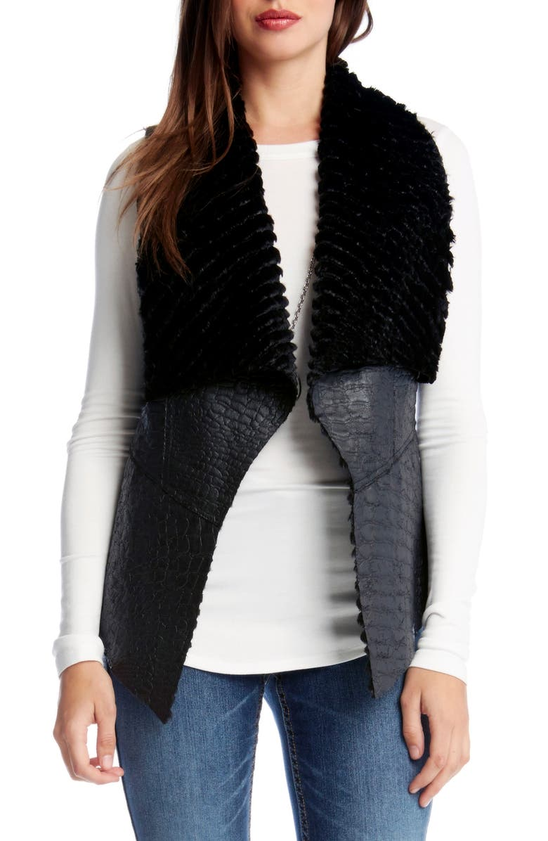 KAREN KANE Reversible Faux Fur Vest, Main, color, BLACK