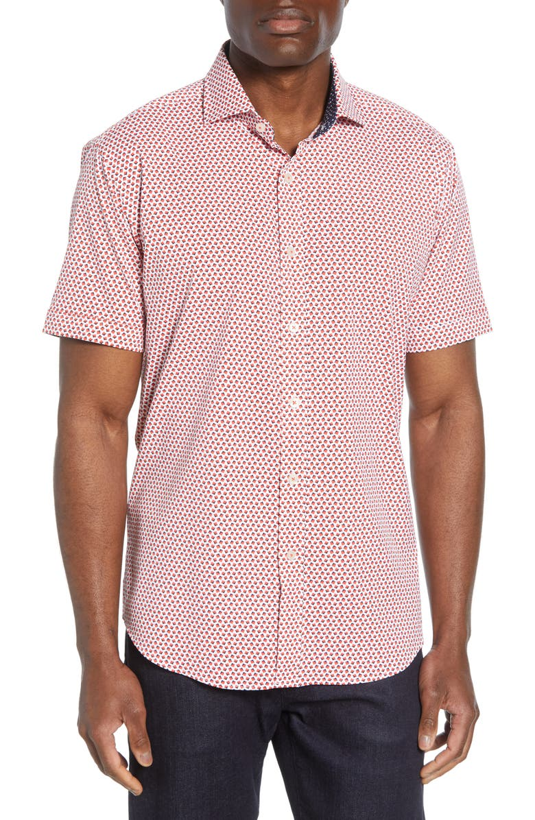 BUGATCHI Shaped Fit Geo Print Performance Shirt, Main, color, RUBY