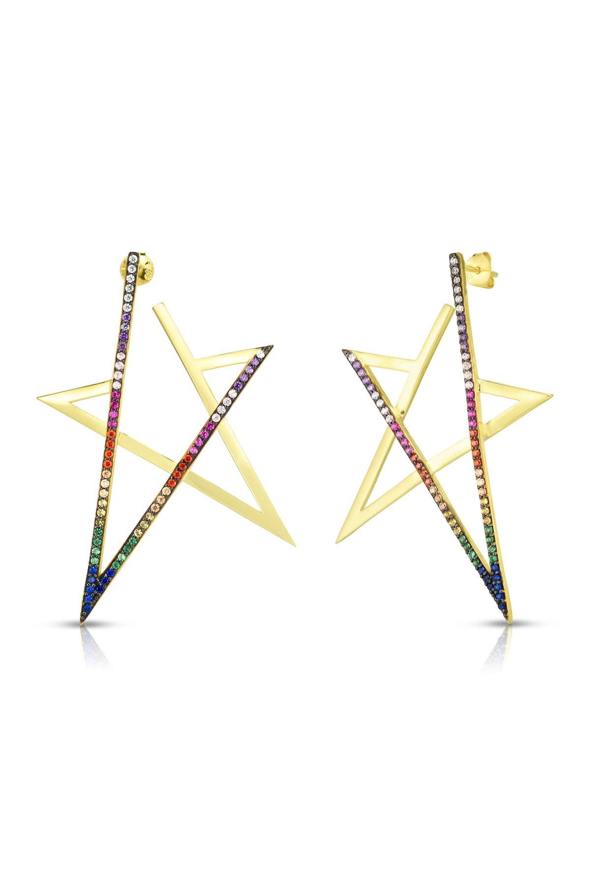 Image of Sphera Milano 14K Yellow Gold Plated Sterling Silver Pave Rainbow CZ Star Drop Earrings
