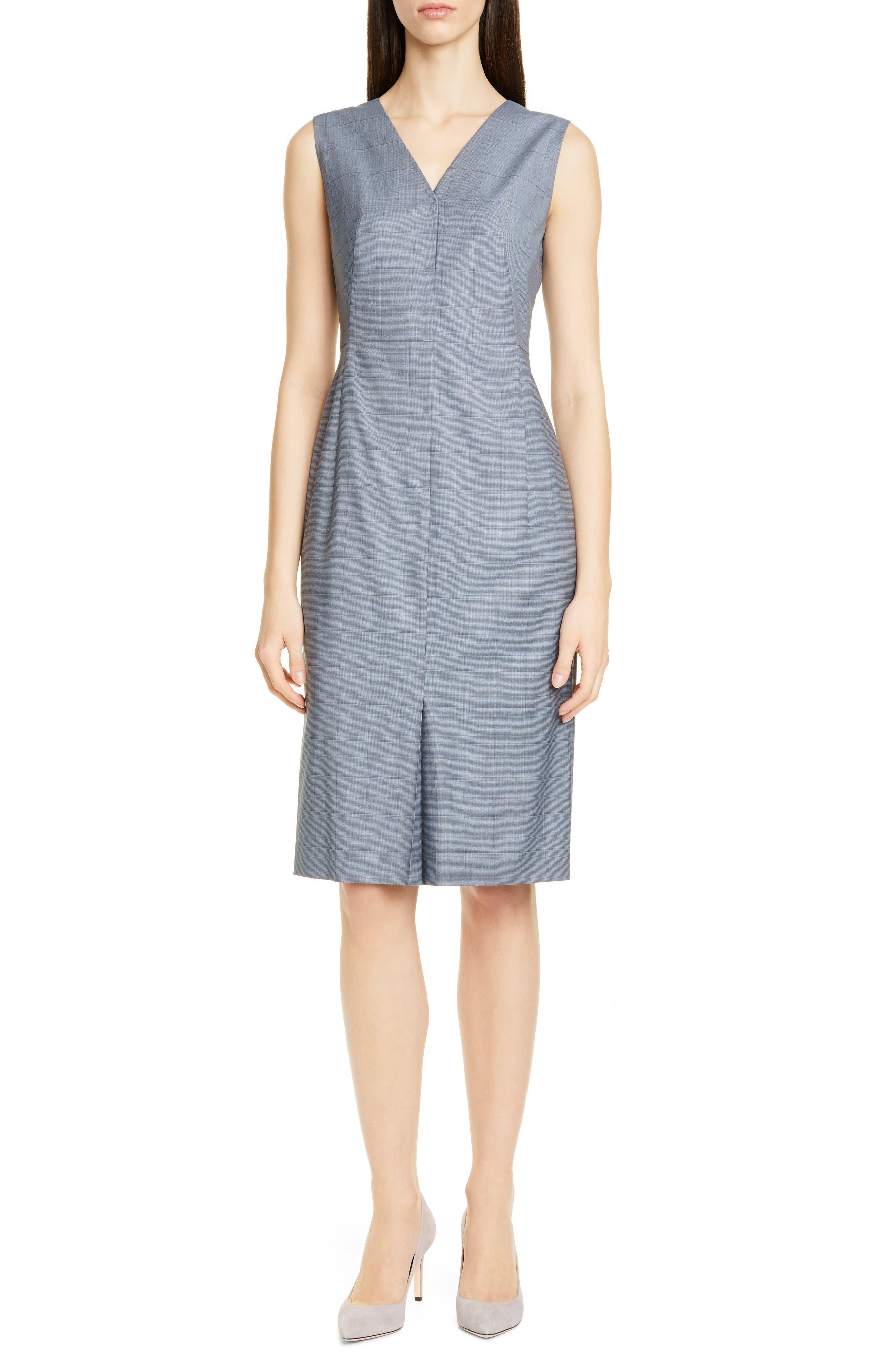 Boss Dalanis Windowpane Plaid Wool & Silk Sheath Dress, Blue
