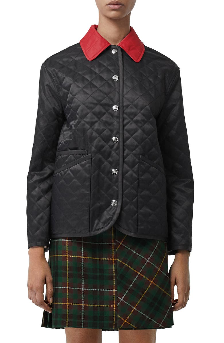 BURBERRY Dranefield Diamond Quilted Jacket, Main, color, BLACK