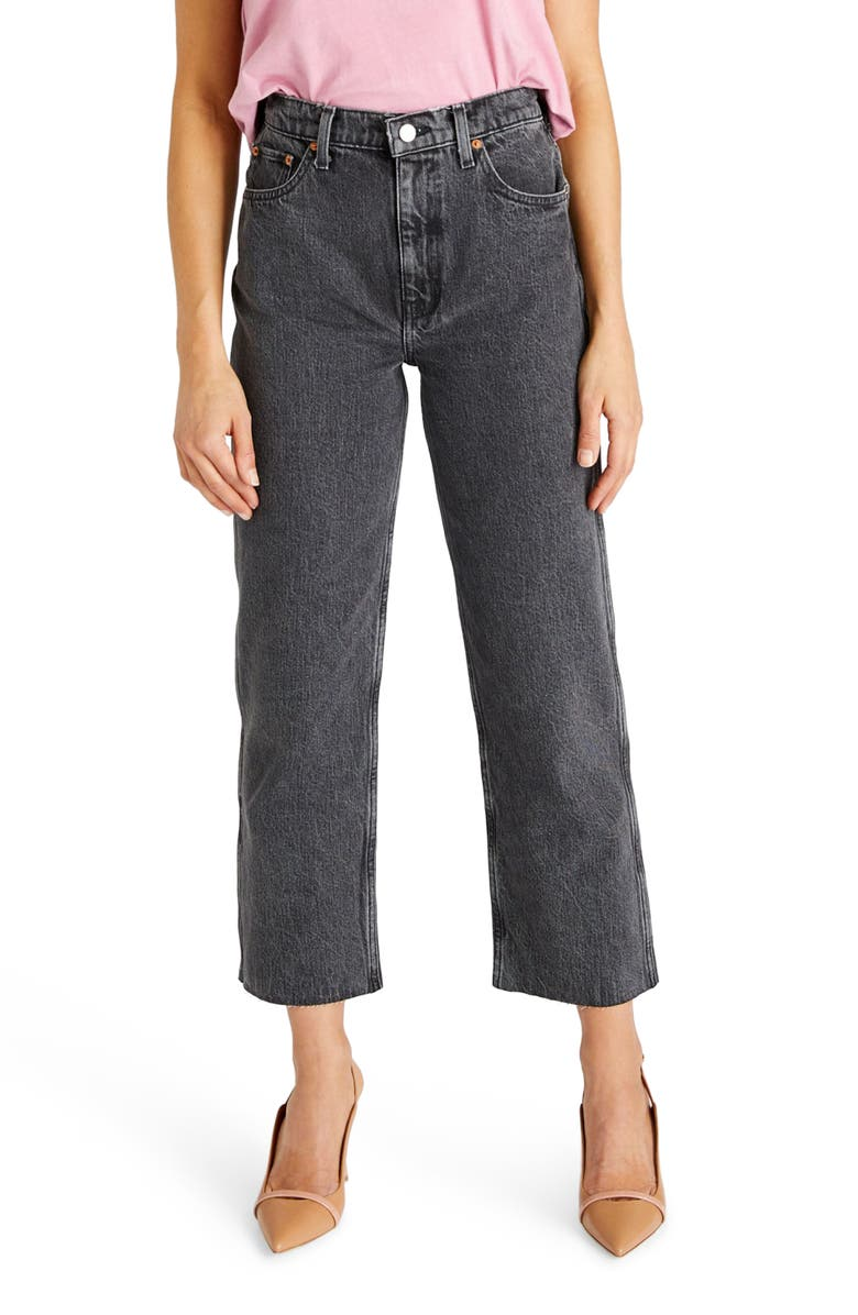 ÉTICA Tyler High Waist Crop Straight Leg Jeans, Main, color, SMOKEY MOUNTAIN