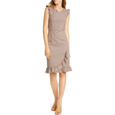 Tailored By Rebecca Taylor Ruffle Trim Houndstooth Sheath Dress, Brown