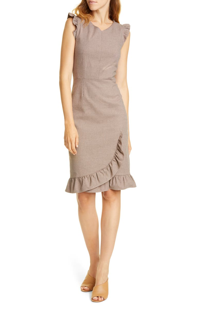 TAILORED BY REBECCA TAYLOR Ruffle Trim Houndstooth Sheath Dress, Main, color, TOFFEE COMBO