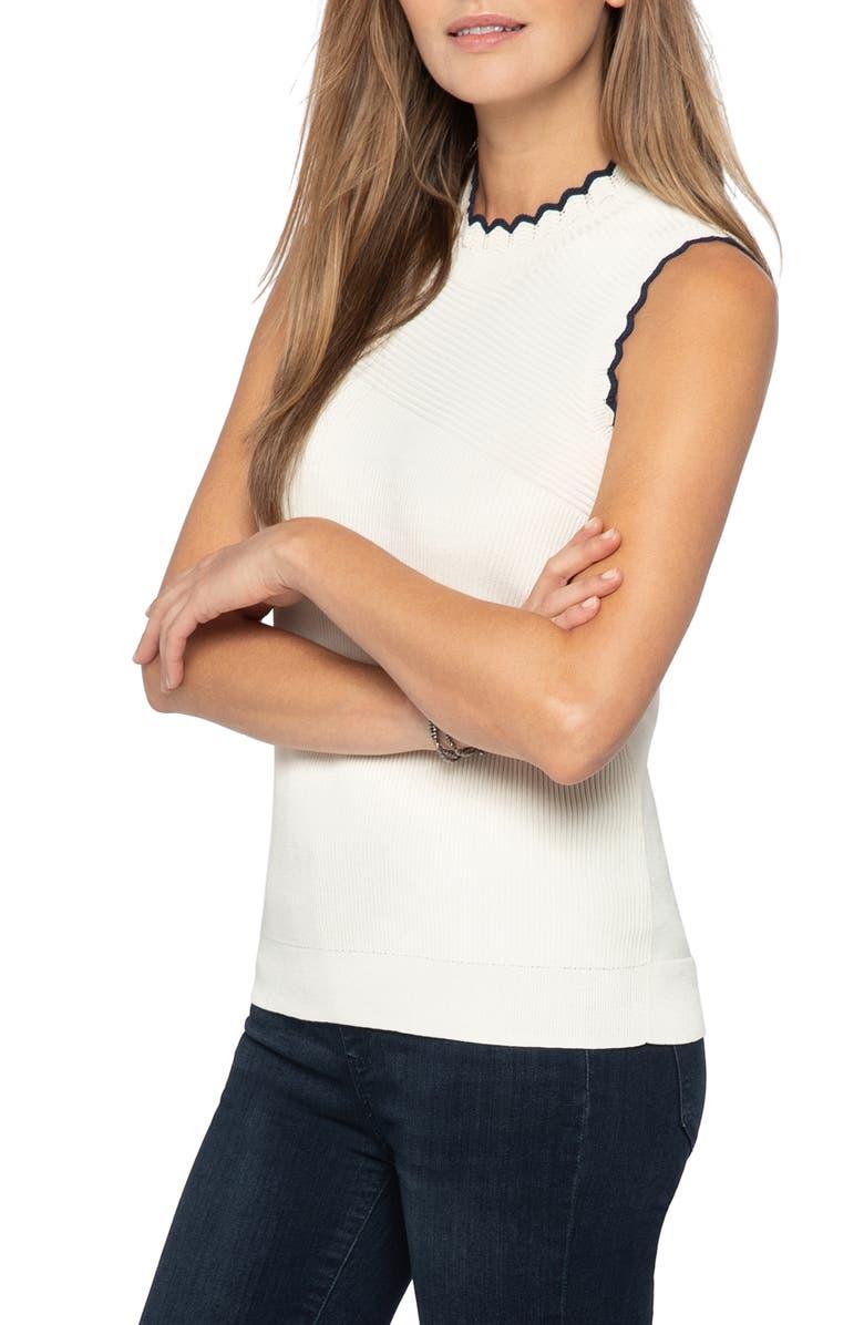 NIC+ZOE Scallop Cotton Blend Sleeveless Sweater, Main, color, MILK WHITE HEATH
