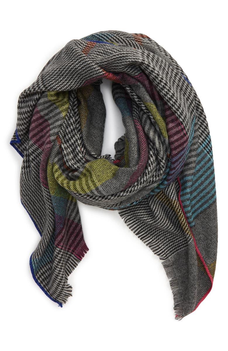 BP. Neon Blanket Wrap, Main, color, GREY MULTI