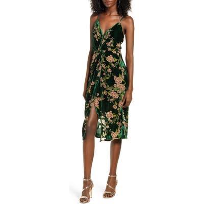 J.o.a. Floral Twist Front Velvet Slipdress, Green