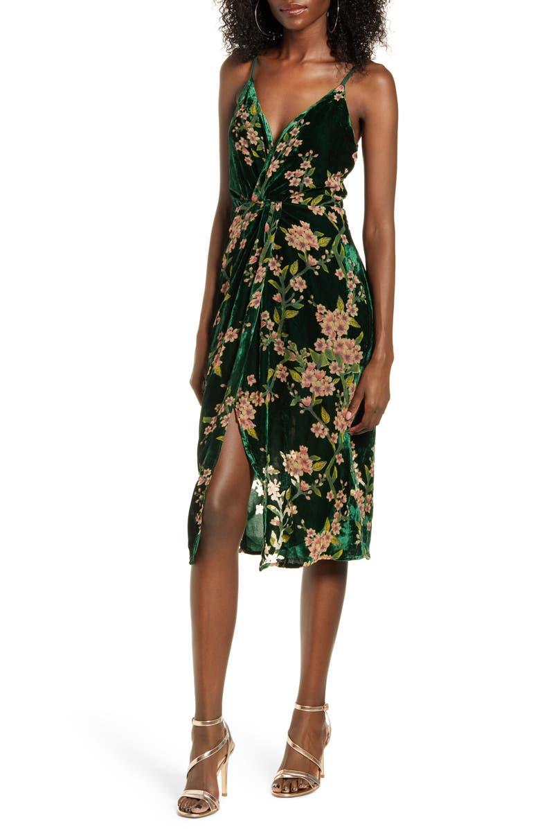 J.O.A. Floral Twist Front Velvet Slipdress, Main, color, 300