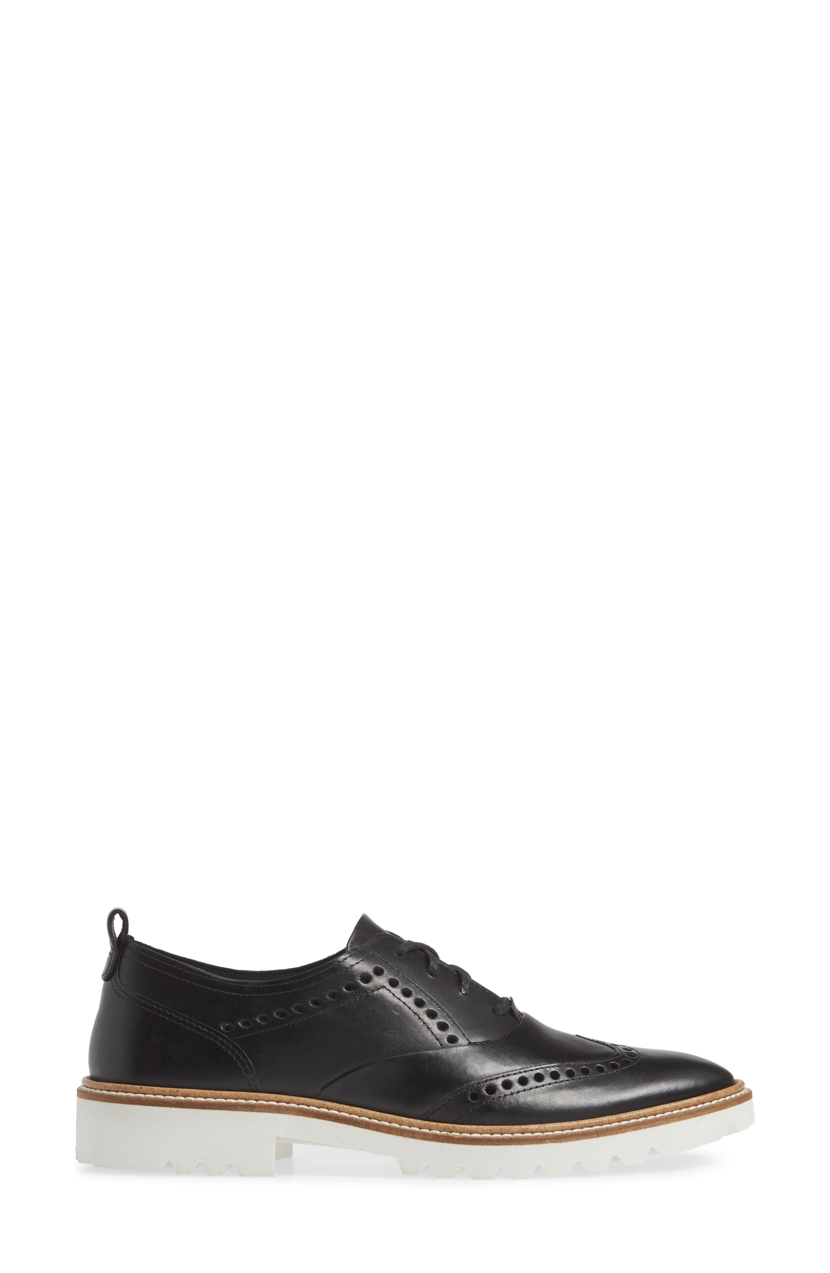 ,                             Incise Tailored Wingtip Oxford,                             Alternate thumbnail 3, color,                             BLACK LEATHER