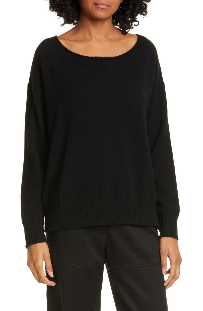 NILI LOTAN Jolene Cashmere Sweater, Main, color, BLACK