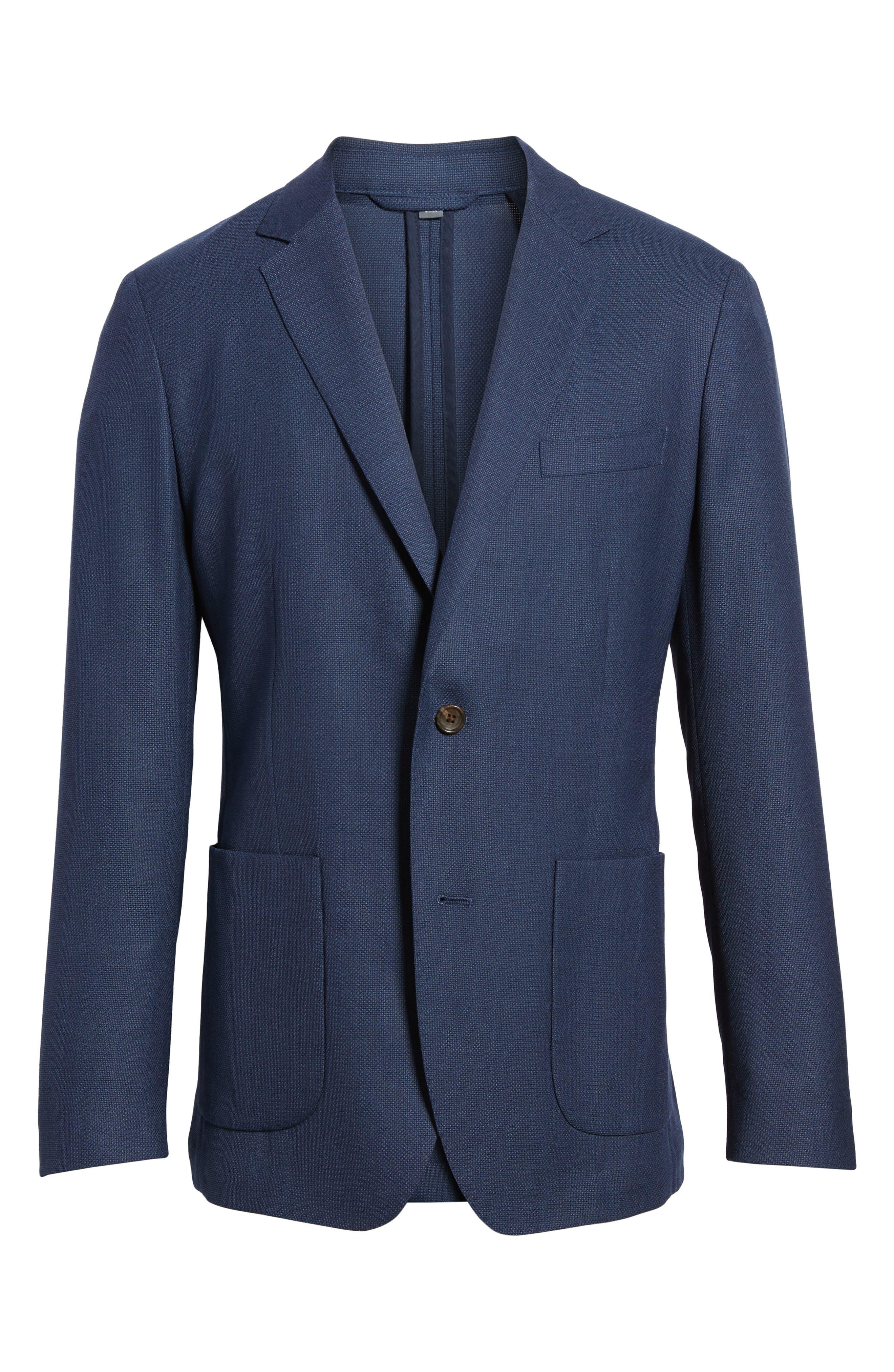 ,                             Slim Fit Wool Unconstructed Sport Coat,                             Alternate thumbnail 7, color,                             BLUE