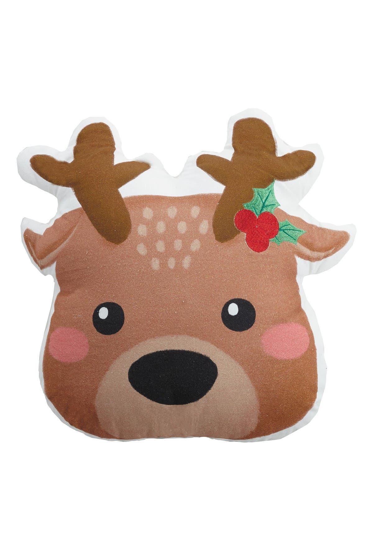 Image of Peking Handicraft Multi Reindeer Shaped Print Pillow