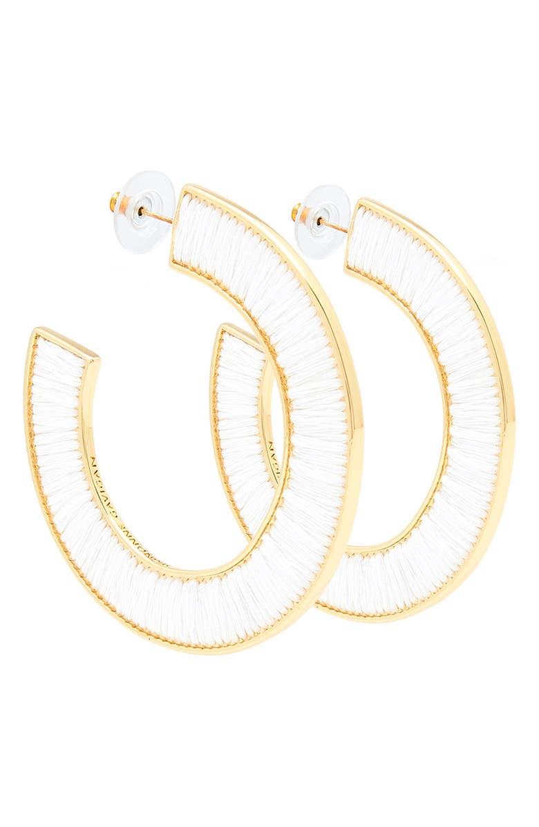 MIGNONNE GAVIGAN Fiona Hoop Earrings, Main, color, WHITE/ GOLD