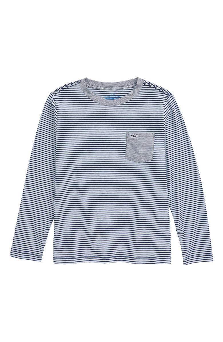 VINEYARD VINES Edgartown Stripe Long Sleeve Pocket Performance T-Shirt, Main, color, 401