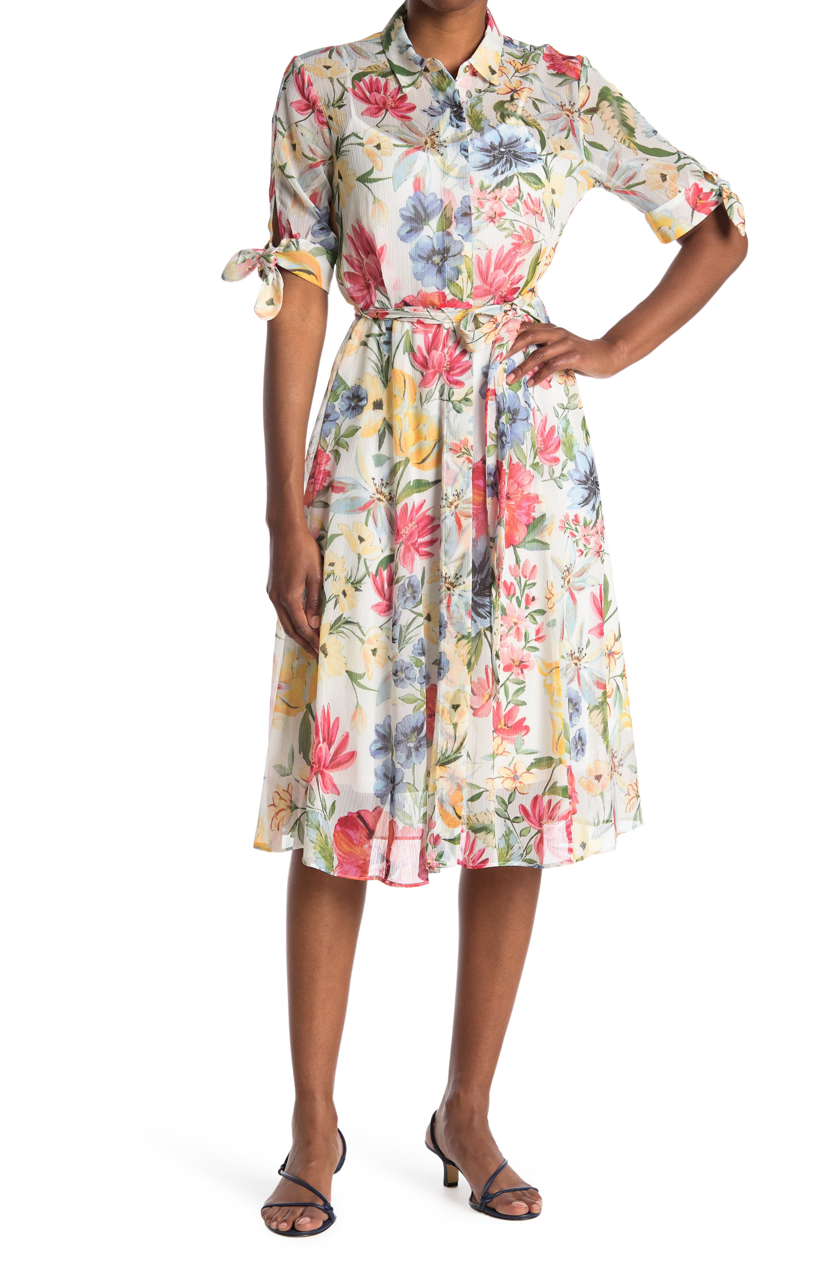 Image of Calvin Klein Floral Shirt Dress