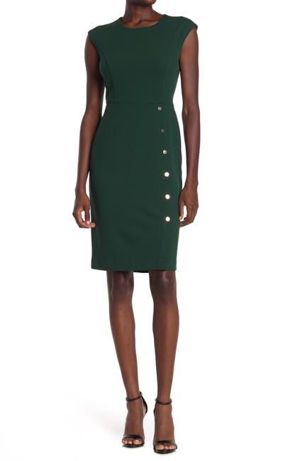 Image of London Times Scuba Crepe Button Skirt Sheath Dress