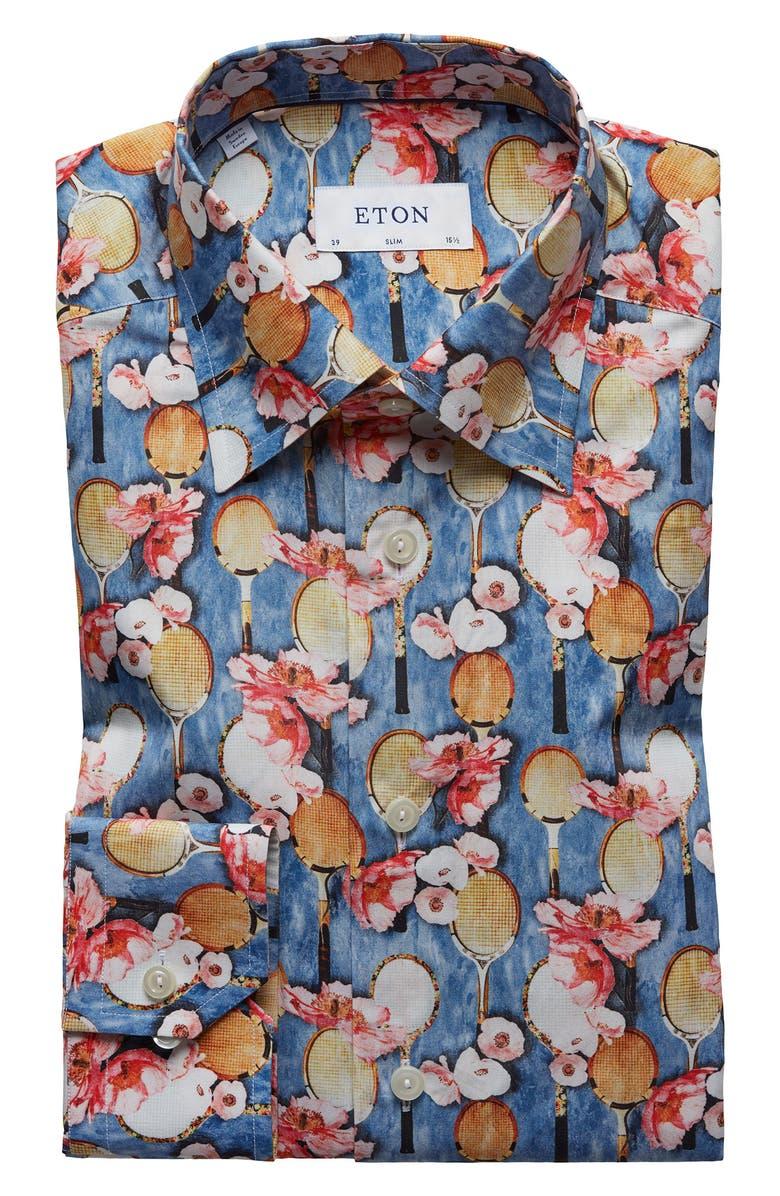 ETON Slim Fit Floral Print Dress Shirt, Main, color, BLUE