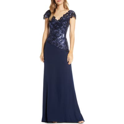 Tadashi Shoji Embroidered Lace Evening Gown, Blue