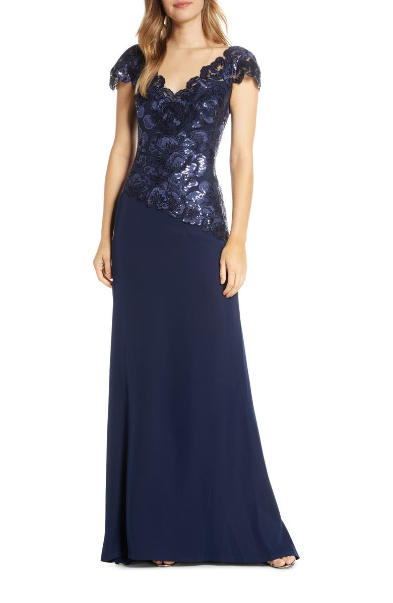 TADASHI SHOJI Embroidered Lace Evening Gown, Main, color, ROYAL NAVY