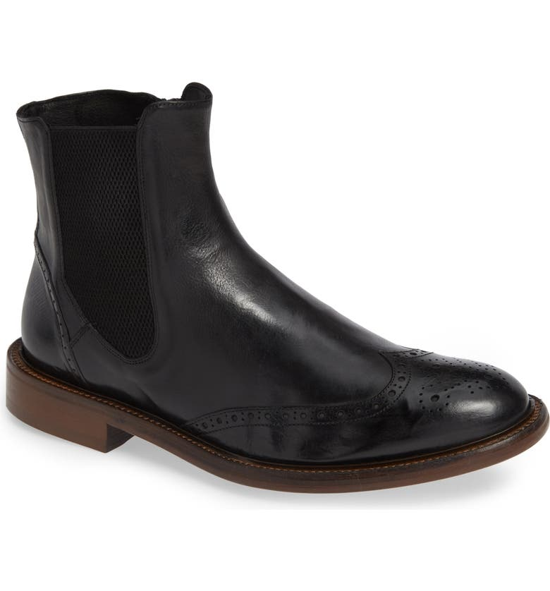 J&M 1850 Bryson Wingtip Chelsea Boot, Main, color, BLACK LEATHER