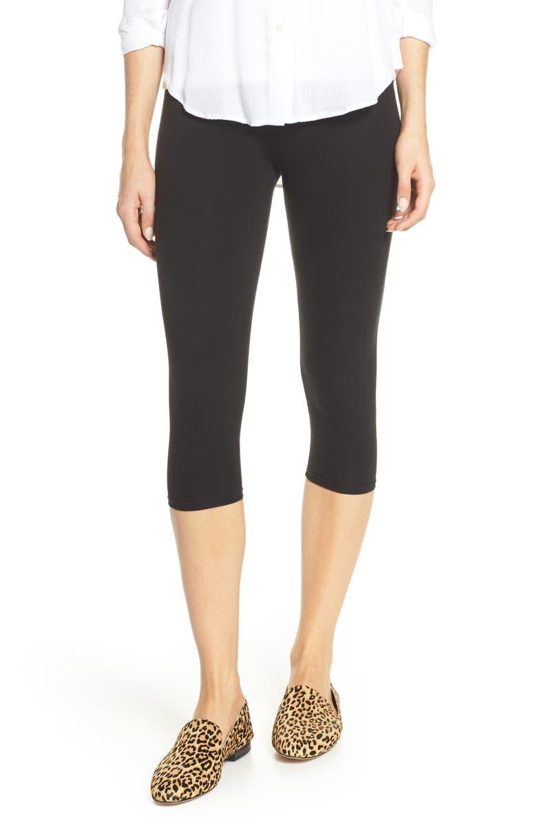 NORDSTROM Go To High Waist Capri Leggings, Main, color, BLACK