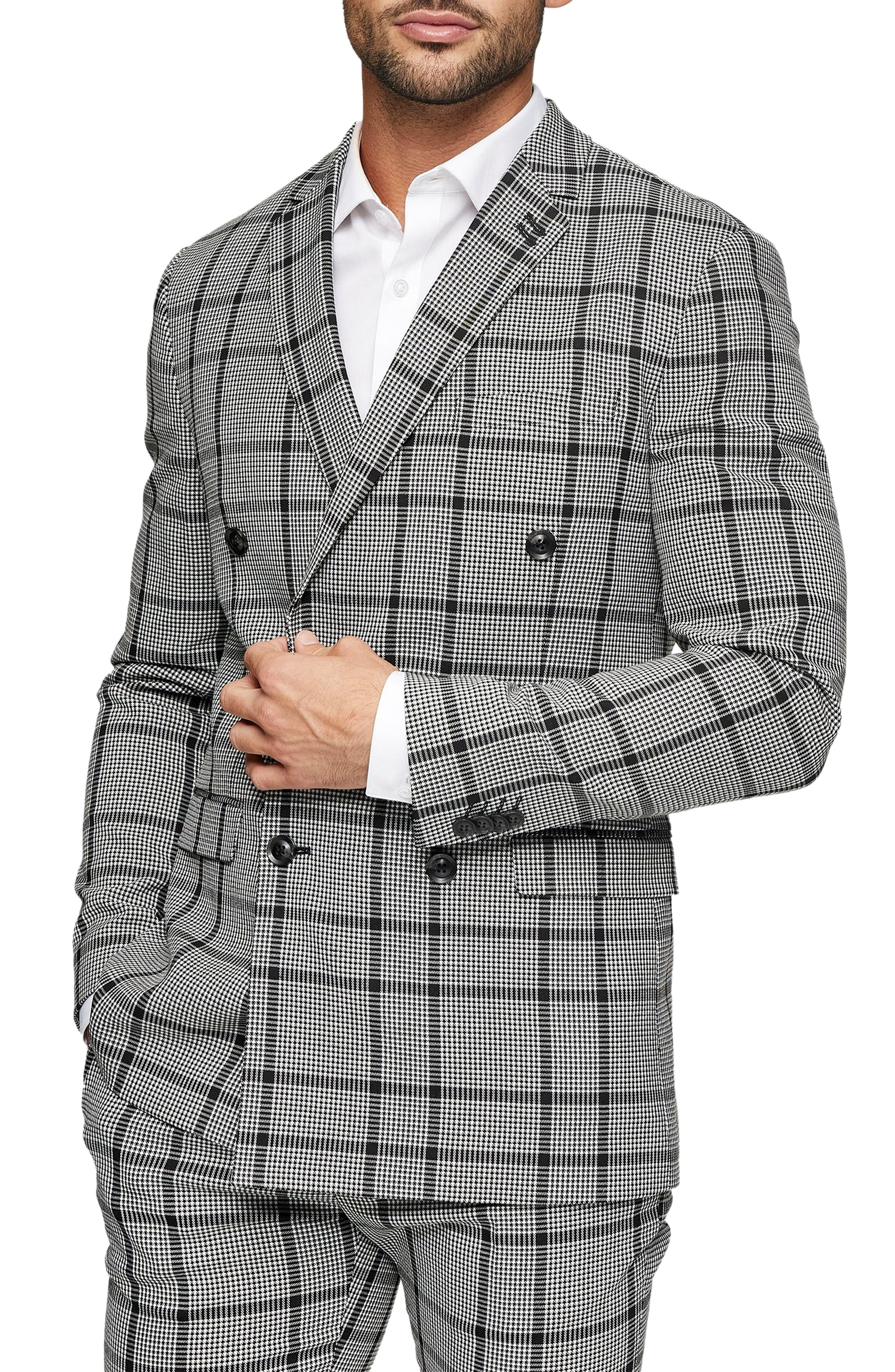 1960s Mens Suits | Mod, Skinny, Nehru Mens Topman Skinny Fit Double-Breasted Check Suit Jacket Size 34R - Grey $195.00 AT vintagedancer.com