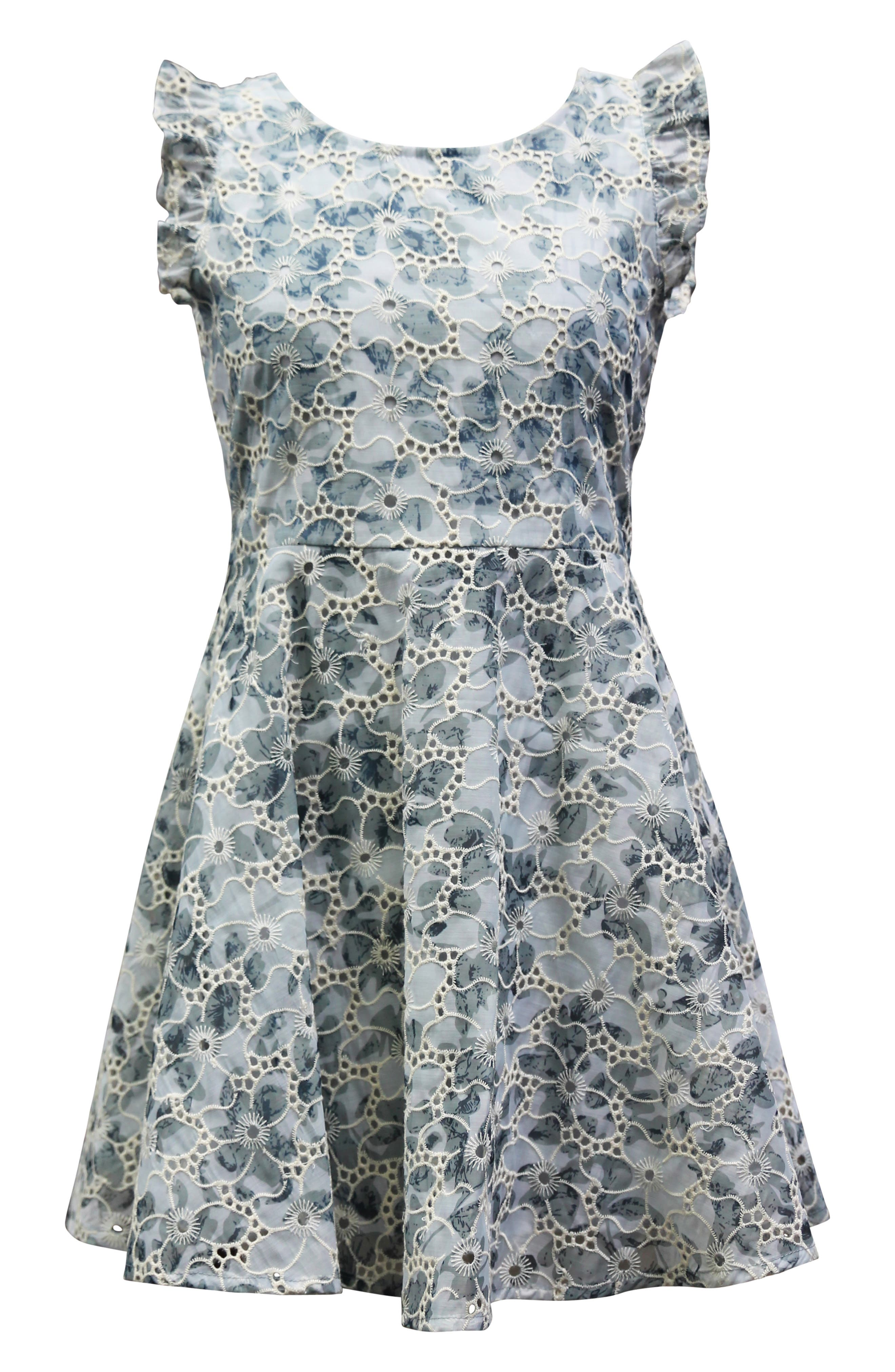 Image of AVA AND YELLY Floral Eyelet Skater Dress