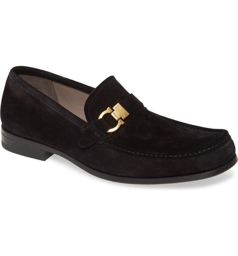 SALVATORE FERRAGAMO Adam Bit Loafer, Main, color, NERO SUEDE
