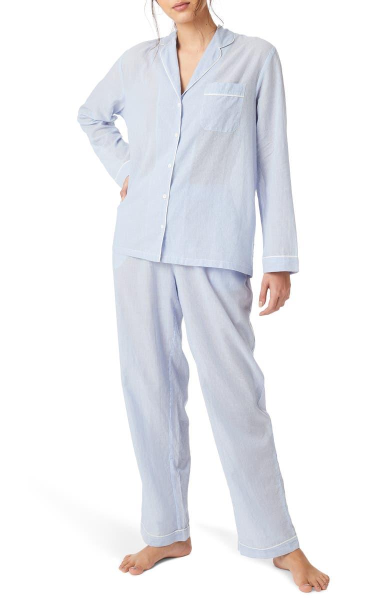 THE WHITE COMPANY Stripe Cotton Pajamas, Main, color, BLUE STRIPE