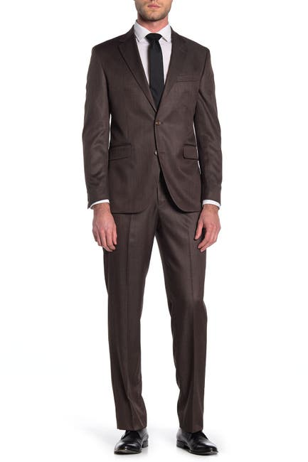 Image of Dockers Brown Sharkskin Two Button Notch Lapel Suit