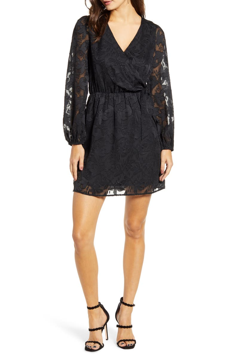 ALL IN FAVOR Floral Jacquard Wrap Front Long Sleeve Minidress, Main, color, 001