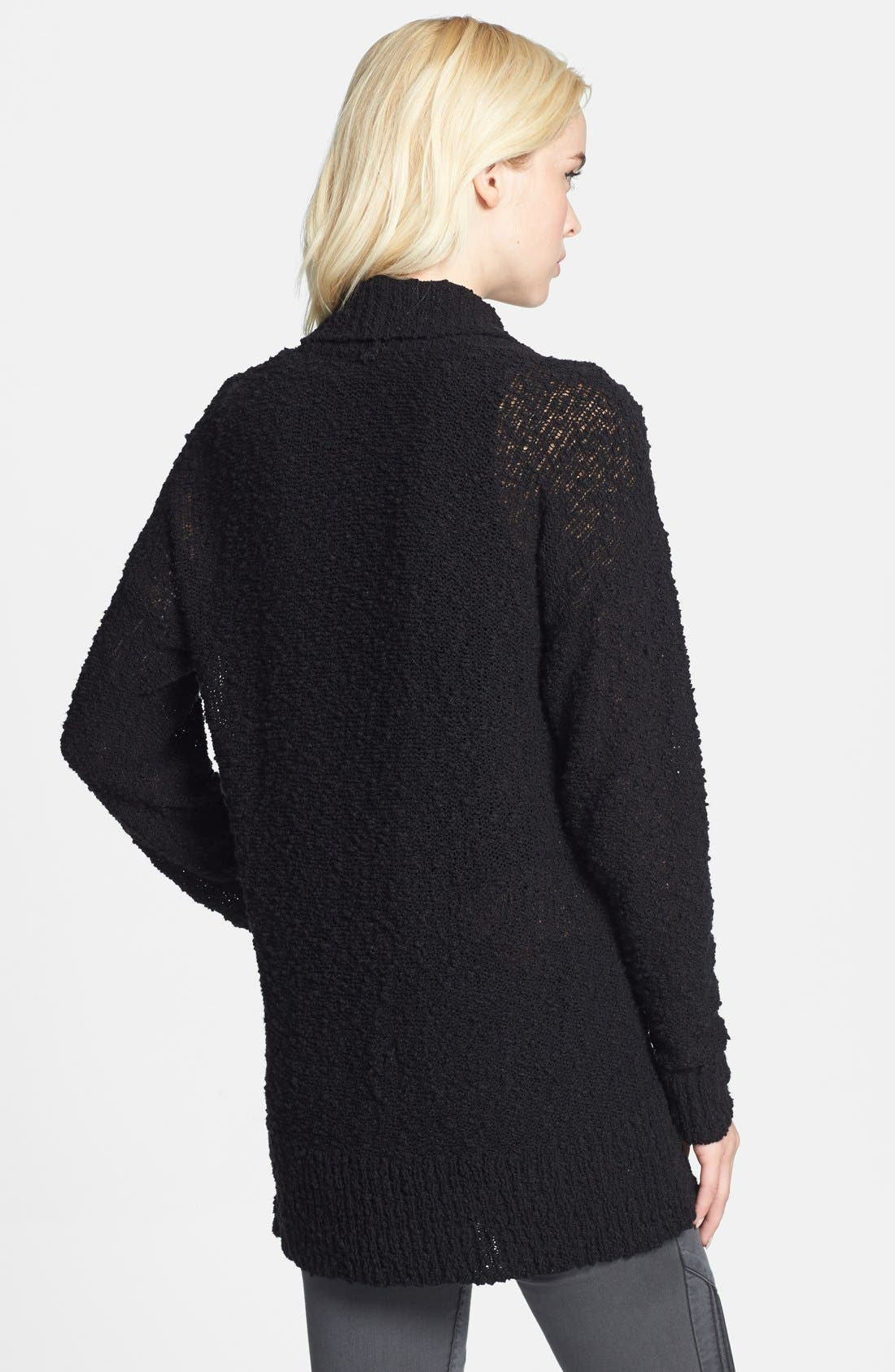 ,                             Textured Open Front Cardigan,                             Alternate thumbnail 4, color,                             001
