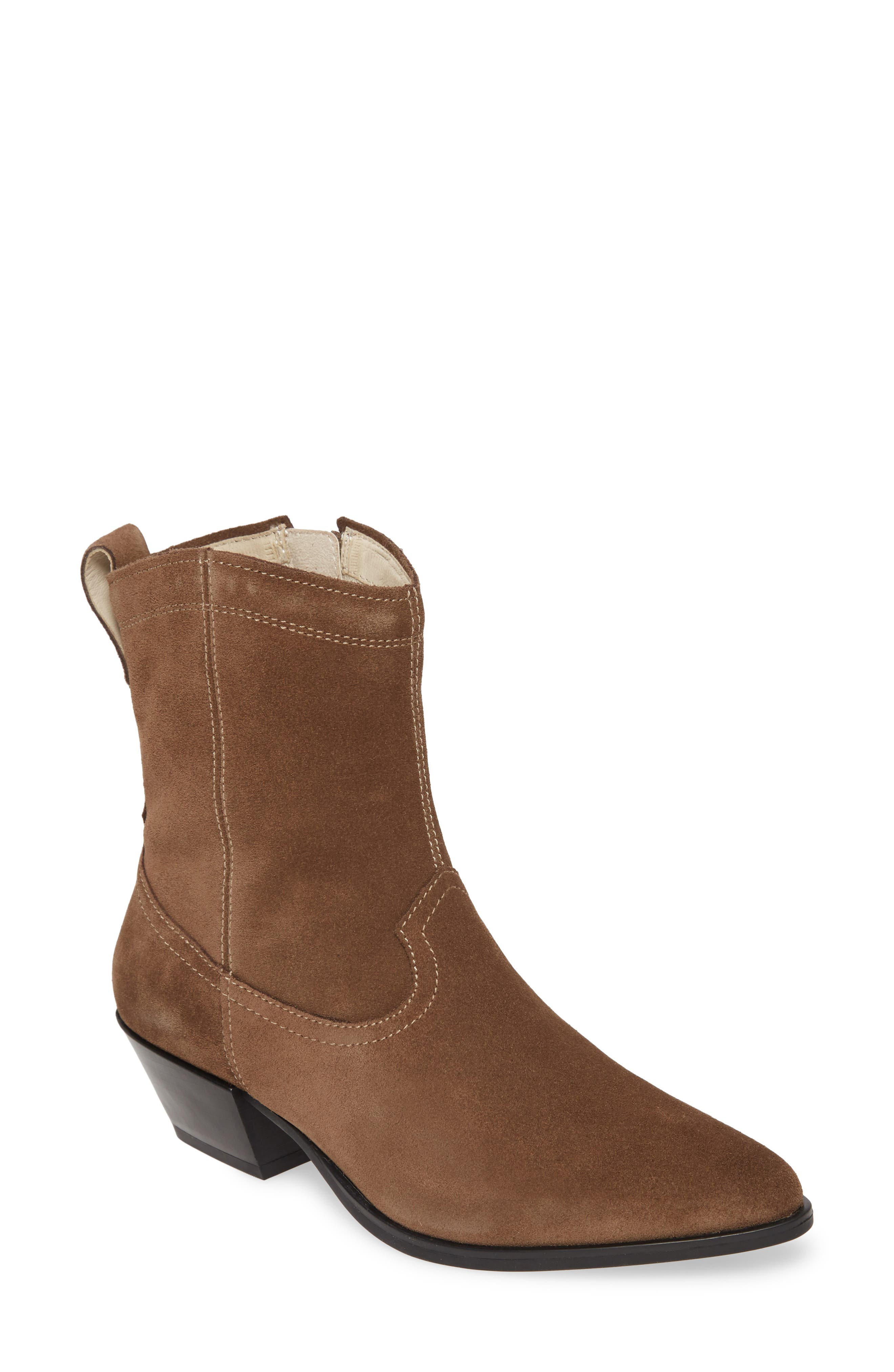 Womens Vagabond Emily Western Block Heels Taupe Suede Boots