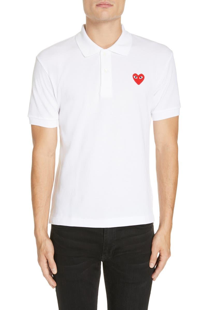 COMME DES GARÇONS PLAY Heart Logo Slim Fit Polo, Main, color, 127