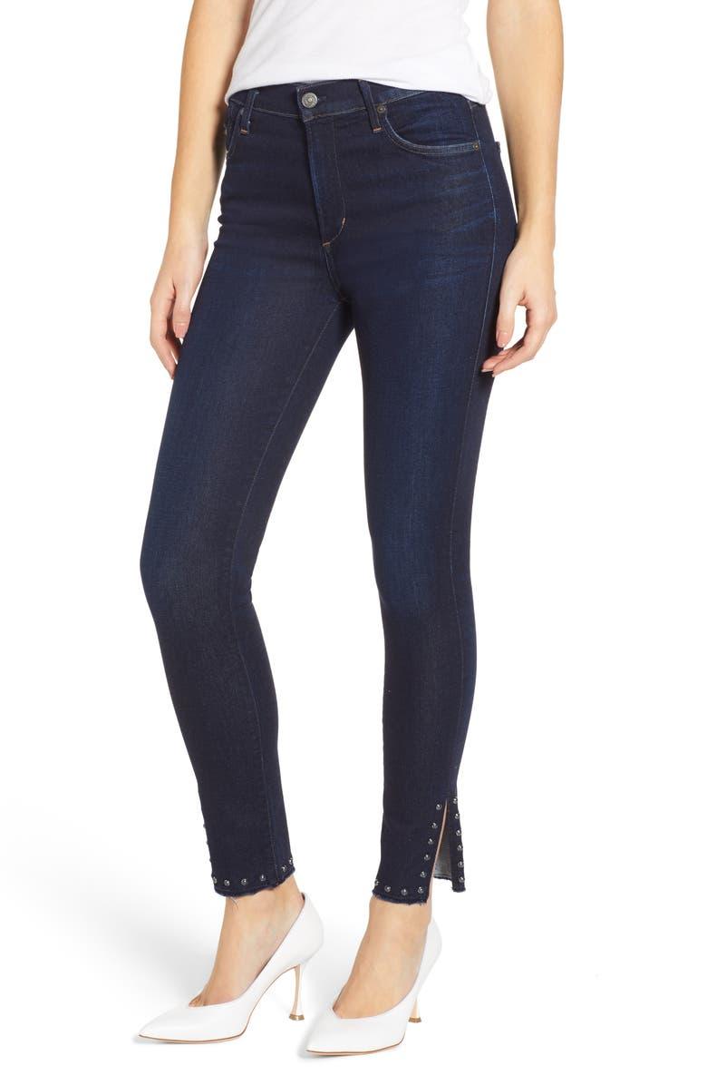 CITIZENS OF HUMANITY Rocket Stud Split Hem High Waist Ankle Jeans, Main, color, AWE