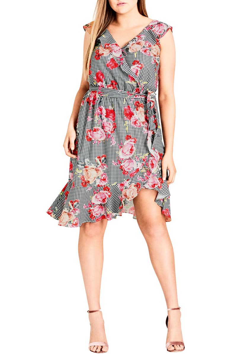 CITY CHIC Rose Picnic Ruffle Wrap Dress, Main, color, ROSE PICNIC